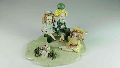 Children In Garden Figurine
