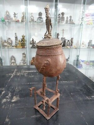 big old rare Dogon Bronze Pot Rider 14 inch old Germany Collection - Dr. Basten