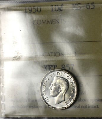 1950 10¢ ICCS MS-65 - Strong Luster & Very Shinny