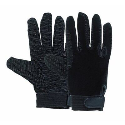 Matchmakers Harry Hall Pimple Grip Gloves - Black, Large - Cotton Horse Riding