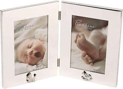 Bambino SILVER PLATED DOUBLE PHOTO FRAME Newborn Baby Picture Gift BN