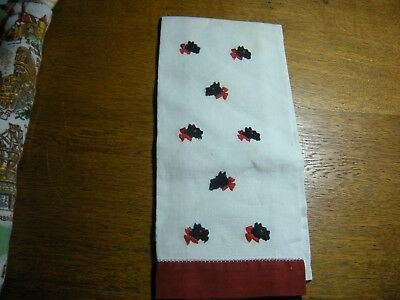Scotty Scottie Dog  Embroidered Red Edge Hand Towel vintage  15 X 20 in