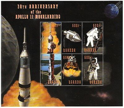 APOLLO XI Moon Landing Armstrong/Aldrin/Saturn V Space Stamp Sheet (1999 Uganda)