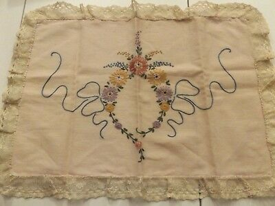 Antique Hand Embroidered Pillow Cover ~ Lace Around Edges~Excellent Condition