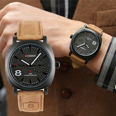 Curren Men Stainless Steel Case Synthetic Leather Analog Quartz Sport Watches