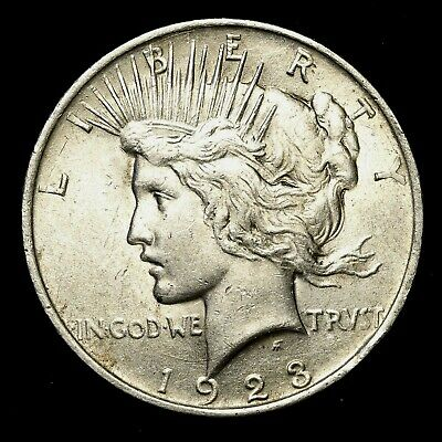 1923 P ~**ABOUT UNCIRCULATED AU**~ Silver Peace Dollar US Old Rare Coin! #P36
