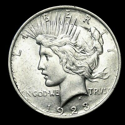 1923 P ~**ABOUT UNCIRCULATED AU**~ Silver Peace Dollar US Old Rare Coin! #R62