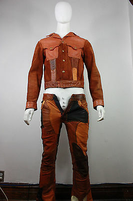 Vintage Santa Fe leather suit S jacket pants levis 646 whipstitch North Beach