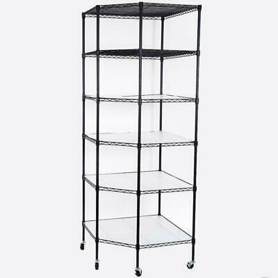 6-Tier Wire Shelving Adjustable Rolling Rack Corner Unit Storage Steel Shelves