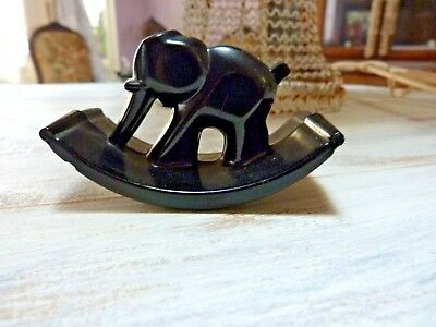 ROCKER BLOTTER Vintage ELEPHANT Black Glass