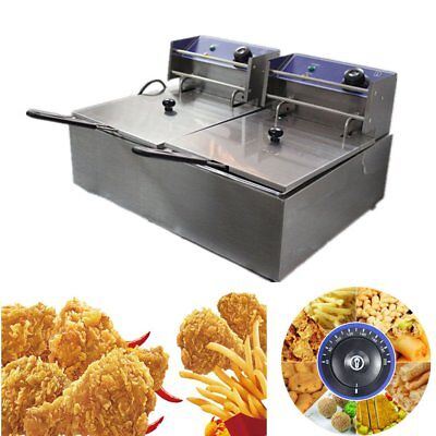 Commercial Deep Fryer Electric - Double Basket - Benchtop - Stainless Steel 0@