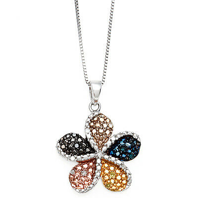 Sterling Silver Diamond Accent Multicolored Flower Pendant Necklace - White