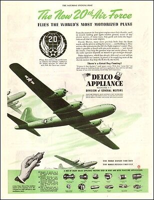 1944 WW2 Ad DELCO APPLIANCE DIV GM Flies the Boeing B-29 Super Fortress 101117