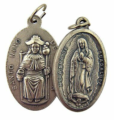 Silver Toned Base Our Lady of Guadalupe Santo Nino de Atocha Medal, 1 3/8 Inch