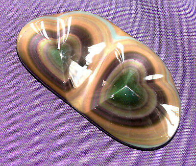 Rainbow Obsidian Double Heart from Mexico Heart, 24,3g 61x31x11mm
