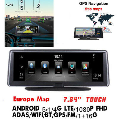 """Android 5.1 4G 7.84"""" Full Touch Nav GPS Vehicle Recorder BT WIFI FM Free EU Map"""