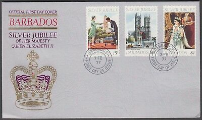 Barbados 3V On 1977 Illustrated Queen Elizabeth Ii Silver Jubilee Official Fdc