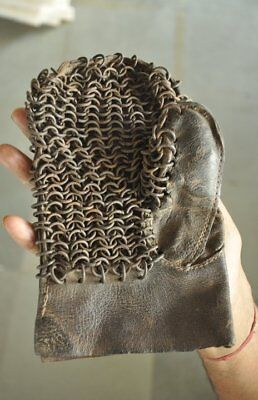 Old Iron & Leather Unique Handcrafted Warrior Glove , Rich Patina