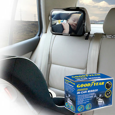 Goodyear Adjustable Wide View Rear/Baby/Child Seat Car Safety Mirror Headrest