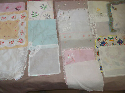 21 Vintage  Hankies + Sachet Commonwealth Royalty Silk Cotton Lace Embroidery
