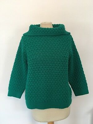 Vintage MOD 50s 60s Stand up Collar Boxy Textured Sweater Green Sz M/L  Zolaine