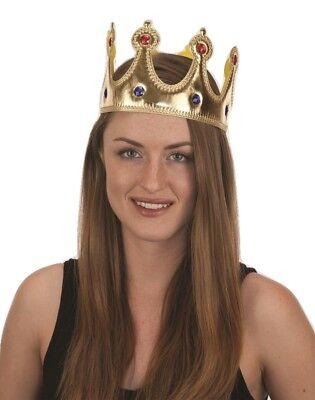 Gold Jeweled King Queen Crown Adult Costume Accessory Prince Princess Adjustable