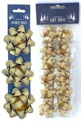 Pack Of 16 Metallic Foil Christmas Gift Bows - Assorted Sizes - Plain Gold