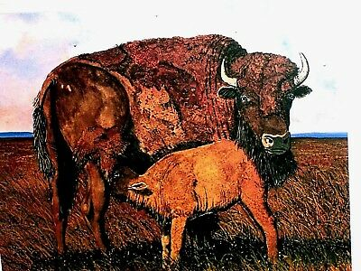 """Vintage Auth Signed """"Prairie Madona"""" Boutwel TEXAS Buffalo Bison Mother Child"""