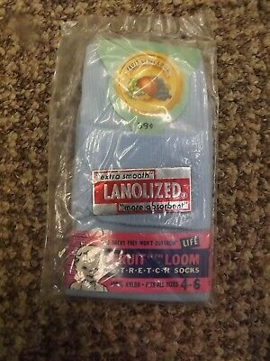 Rare Vtg 50s Fruit of the Loom Baby Toddler Stretch Socks Sz 4-6 Lanolized Nylon
