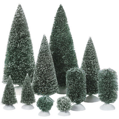 Department 56 Snow Village Bag O Frosted Topiaries Trees Figurine Set 52996