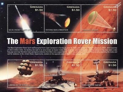 NASA The Mars Exploration Rover (MER) Mission Space Stamp Sheet (2004 Grenada)