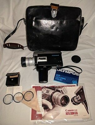 Canon Auto Zoom 518 Super 8 mm Camera - w/ Case, Manual, Misc. Working - Japan