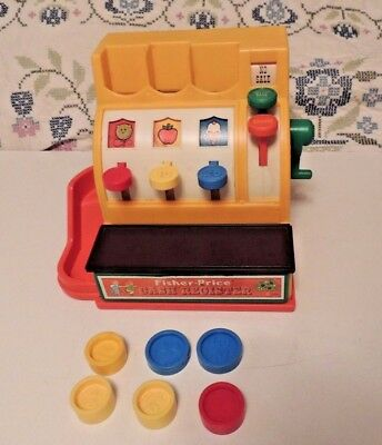 Vintage Fisher-Price Cash Register No. 926 With Coins w 6 Coins, Works 1970s Toy