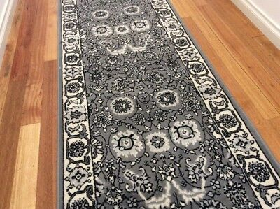 Dalia Grey Ivory Hallway Runner Traditional Hall Runner Rug 3 Metres Long