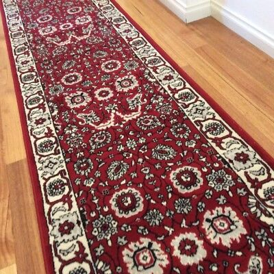 Dalia Red Ivory Hallway Runner Traditional Hall Runner Rug 3 Metres Long