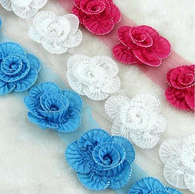 4 Yards Handmade Pleated chiffon flower lace Decoration clothing accessories