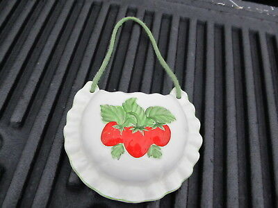 Vintage Lefton Wall Pocket With Strawberries 1984 Nice Piece Great Colors