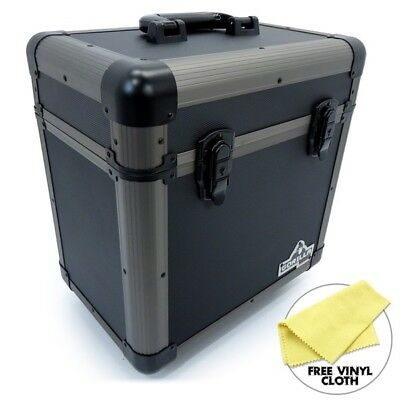 "Gorilla 12"" LP Vinyl Record Carry Storage Case Box - Titanium - Holds 60"