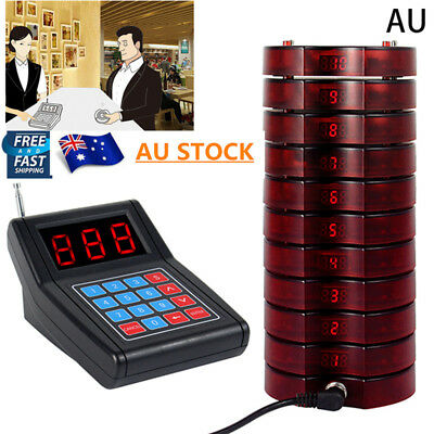 10Pcs Wireless Restaurant Coaster Pager Guest Call Paging Queuing Calling System