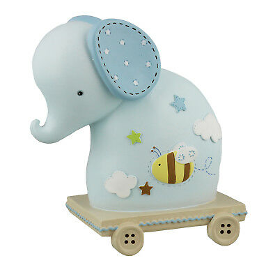 Baby's Blue Elephant  Money Bank Box Baby Christening New Baby Gift