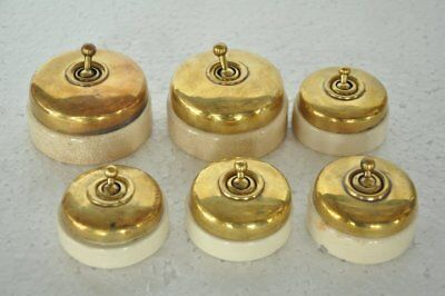 6 Pc Vintage Big & Small Brass & Ceramic Victorian Electric Switches , Germany
