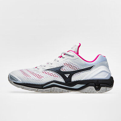 9519ec27668a Mizuno Womens Wave Stealth V Netball Trainers Sports Shoes White Footwear