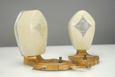 PAIR of Vintage Art Deco Markel Slip Shade Wall Sconce Light Fixtures