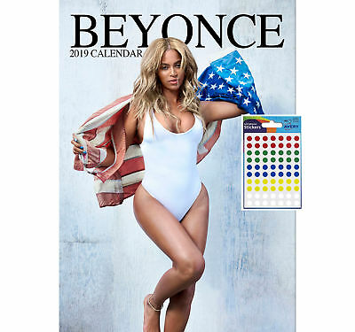 Calendar - Beyonce 2019 Wall Calendar - Includes 70 Coloured Dot Stickers