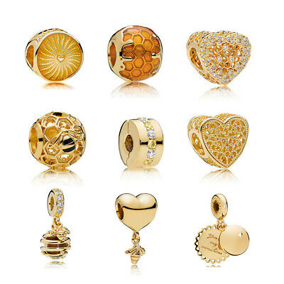 2018New European Genuine Gold Plated CZ Charm Beads Fit 925 Bracelet Chain