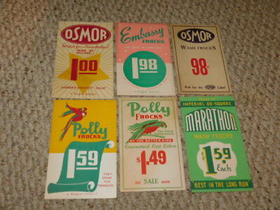 6 Very Good Vintage Store Display Cards For Various Store Items - 4.75 X 7.25