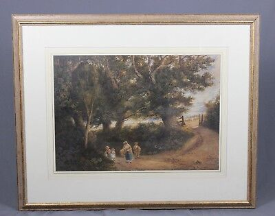 Large 19th Century Watercolour Painting Countryside Landscape by Henry Mapleston