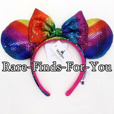 Disney Parks Minnie Mickey Mouse Rainbow Pride Sequin Ear Headband NEW WITH TAGS