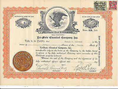 1916 Tri-State Chemical Co. Inc Stock Certificate W/ Transfer Stamp New Jersey