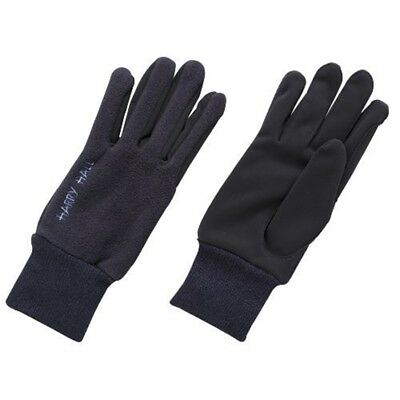 Harry Hall Fleece/domy Suede Gloves - Navy Blue, Large - Fleecedomy Riding